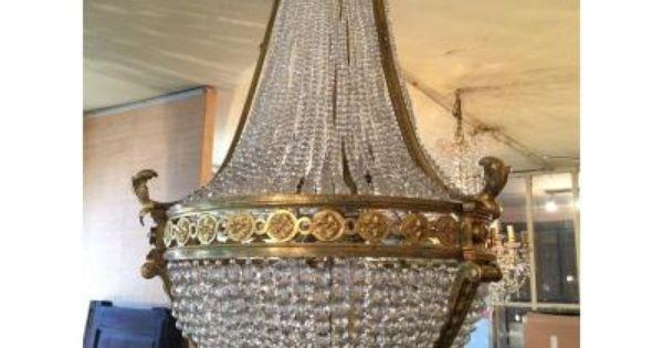 Lustre montgolfière plafonnier baroque 75 cm bronze et pampilles verre
