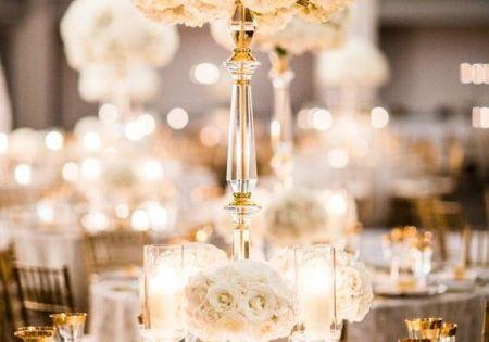 mariage de luxe : la décoration - mariage blanc et doré  Mariage ...