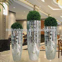 Hecho A Mano Grande Plateado Espejo De Mosaico De Vidrio Flores Jarrones Decorativos En Jarrones De Vidrio Y De C Glass Vase Decor Vases Decor Large Floor Vase