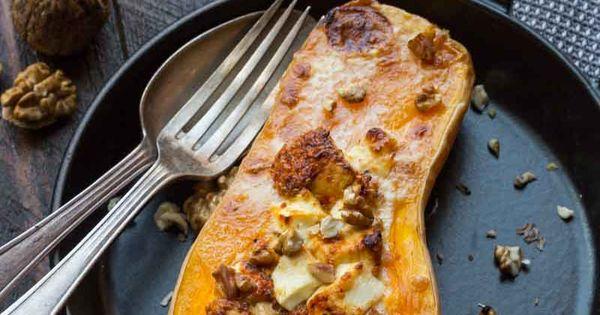 Courge butternut farcie au ch vre recette butternut - Cuisiner les potimarrons ...