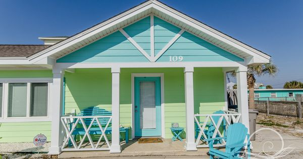 Pastel blue and green cottage in pensacola beach fl for The fish house pensacola fl