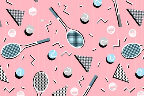 Colorful Fabrics Digitally Printed By Spoonflower 80s Tennis Lesson Pink Background By Andrea Lauren Cute Patterns Wallpaper Prints Pink Background