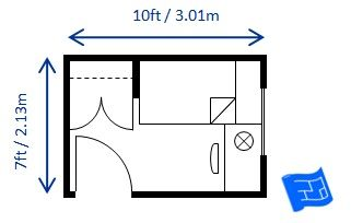 Minimum Bedroom Size For A Single Bed Built To Minimum Code Requirements 7ft X 10ft Bedroom Size Remodel Bedroom Small Bedroom Layout