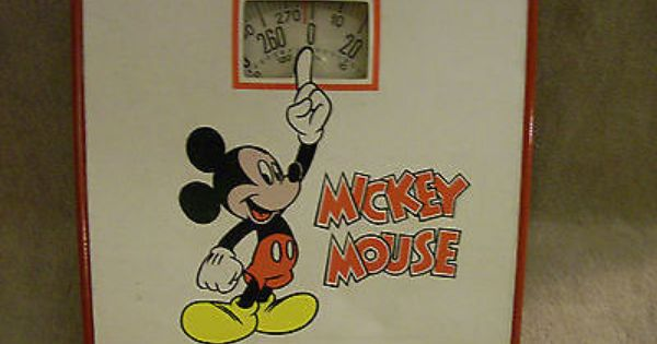 Vintage Walt Disney Mickey Mouse Bathroom Scale Red White