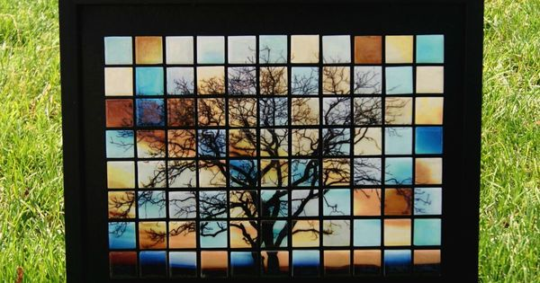 DIY Glass Tile Mosaic Art Piece.