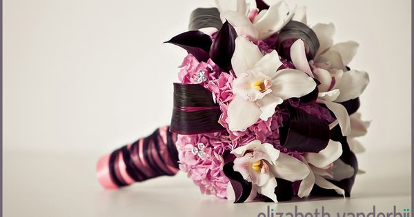 Orchid Wedding | white orchid pink hydrangea black calla wedding flowers