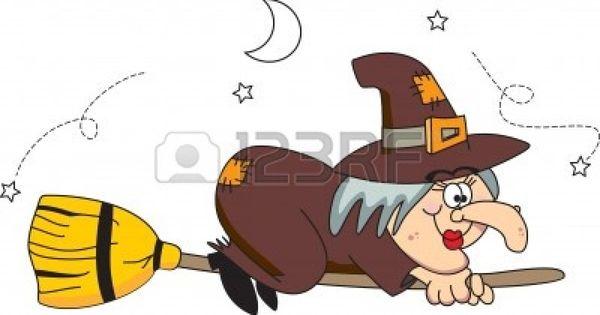 La strega buona vola sulla scopa illustrazione vettoriale