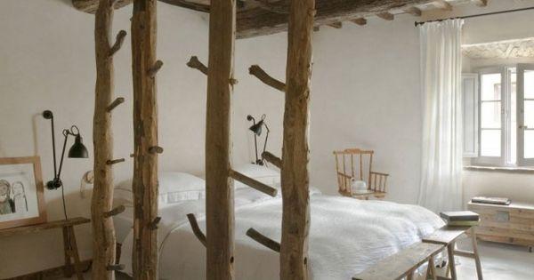 sichtbare decken holzbalken schlafzimmer rustikale