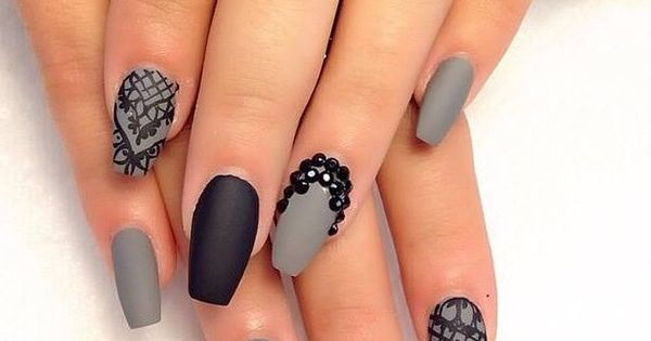 Image via We Heart It https://weheartit.com/entry/145448221 art black grey nail nails polish