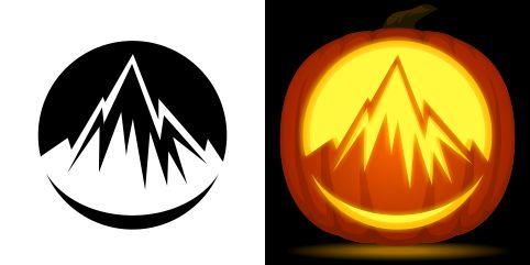 Mountain pumpkin carving stencil free pdf pattern to