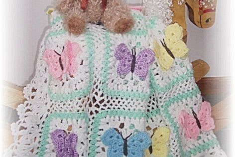 Butterfly Kisses Crochet Baby Afghan Or Blanket Pattern