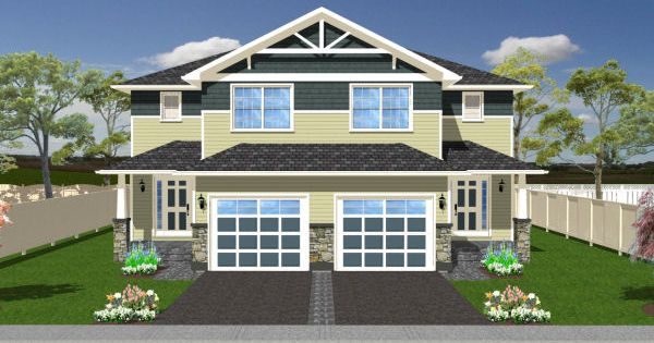 Craftsman Style Duplex House Plan Multi Family