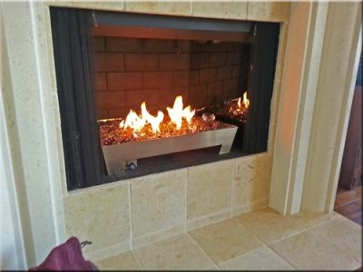 Fireplace Remodel With Silver Pan And Glass Rocks Fire Glass