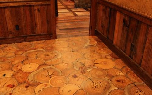 Fantastic End Grain Wood Floor With Slices Of A Tree Trunk