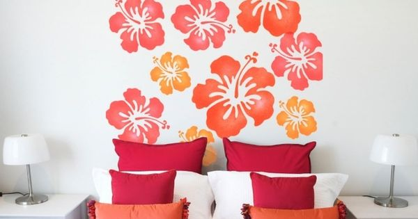 muster wand streichen ideen schablone blumen schlafzimmer home pinterest w nde orange und. Black Bedroom Furniture Sets. Home Design Ideas