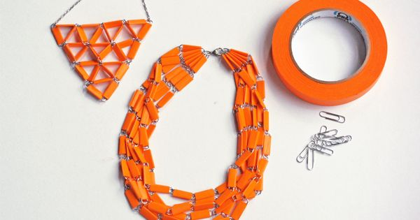 DIY jewelry from paperclips and tape | How About Orange | See more about Diy Jewelry, Jewelry and Collars.