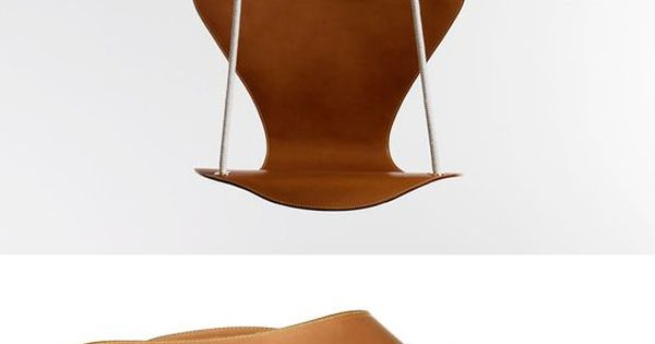 A leather hanging chair, a collaboration between Danish design company Fritz Hansen