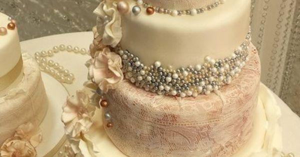 Ruffle an Pearl Vintage Wedding Cakes wedding cake 2014
