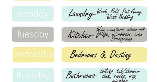Weekly Cleaning Schedule (and MANY more organizing printables)