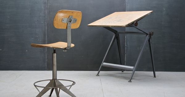 Knoll Drafting Table Chair Prouve USA c1950s Vintage French