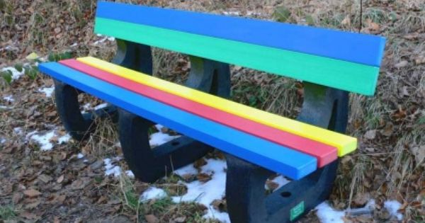 Colne Rainbow Bench Garden Bench Multicoloured Recycled Plastic