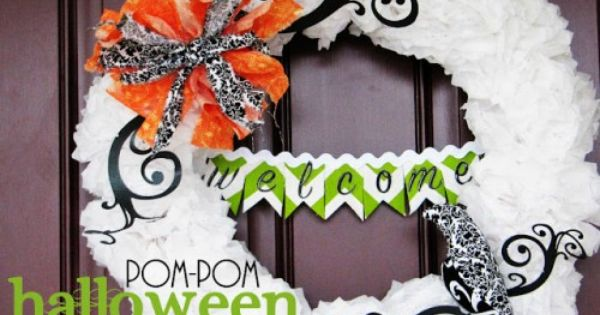 Awesome pompom halloween wreath tutorial