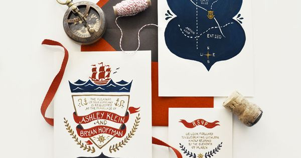 A Pair of Pears: Quill & Fox Design beautiful nautical invitation, the
