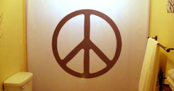 Peace Sign Shower Curtain 70s Hippie Bathroom Decor Extra Long