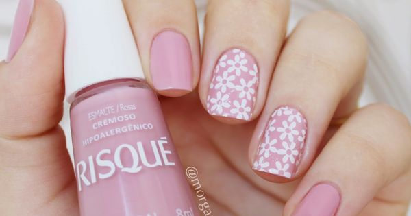 Pink nails. Flowers nail art. Nail design. Polish. Polishes. Unhas: Astral da