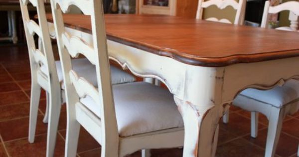 French Country Dining Table And Chairs Cream White Two Tone Wood Ladderback Annie Sloan French Country Dining Country Dining Tables French Country Dining Table