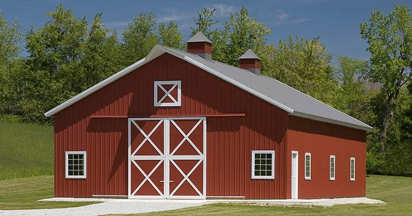 Pole barn hobby bulding with crossbuck doors peru for Pole barn homes indiana