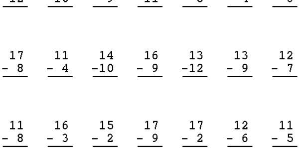 Subtraction 2 Digit Subtraction Minus 1