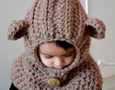 Teddy Bear Cowl Crochet Pattern Free : H?kelanleitung E-Book Teddy Haube M?tze