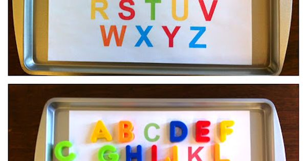 Toddler Alphabet free printable preschool homeschool magnet activity tot tray from The