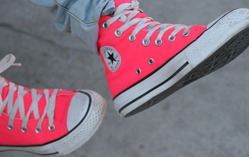 i so want these neon pink shoes