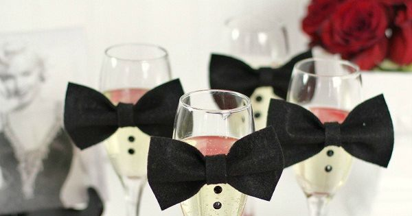 Use bow ties and buttons to dress up Luxe Tux Champagne Glasses.