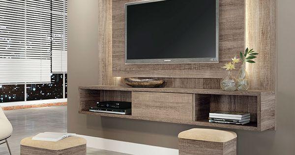 Conjunto sala de estar lume com puff roble graffiato suede bege hb m veis casa decora o - Armarios para sala de estar ...