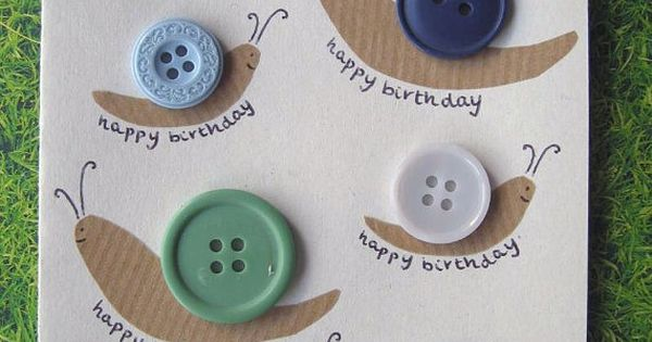 Button Snail 'Happy Birthday' Card. Unique and unusual design made with real