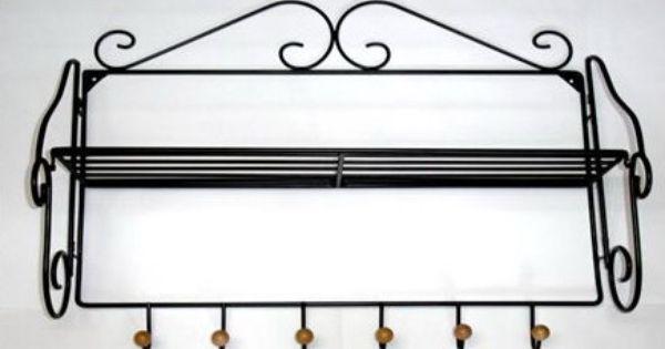 Porte manteaux mural d 39 entr e rustique en fer forg noir - Patere fer forge ...