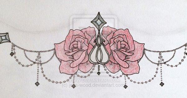 Roses and Chains Underboob Sternum Tattoo i kinda like that one...ugh picking