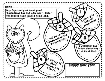Squirrel S New Year S Resolution New Years Activities Character