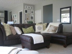 Perhaps A Brown Leather Sectional With Light And Airy Pillows