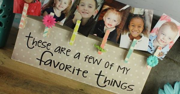 Easy to make! Block painted, glue clothespin and include with a photo!