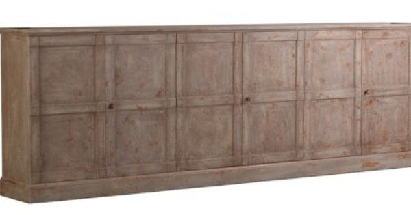 Long Cabinet Buffet 9 Ft Credenza 6 Doors Distress Antique Finishnew Free Ship Rustic Charm