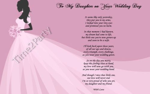 A4 Poem From Mum To Daughter On Her Wedding Day Mother To Daughter Gift Wedding Day Quotes Wedding Poems Mother Daughter Wedding