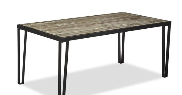 Table de repas en acier et pin pin recycl teint gris for Table et chaise en pin