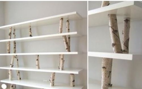 DIY Birch Branch Shelves. Cut your own tree branches, screw them into