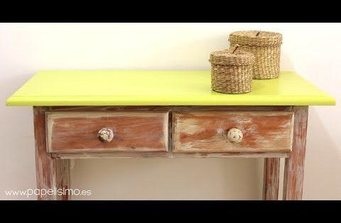 C mo envejecer un mueble de madera chalk y p tina - Pintar un mueble viejo ...