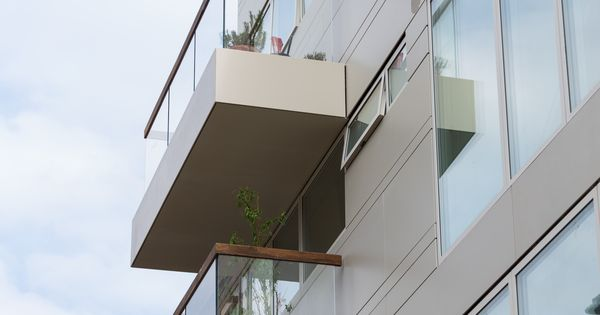 Modern Balcony Mentmore Terrace Building In London Featuring Corian Exterior Wall Cladding
