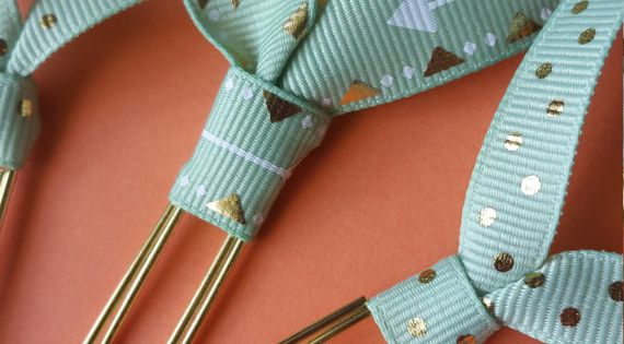 Mint gold dot arrow ribbon paper clip bookmark for books for How to tie a ribbon on a bookmark